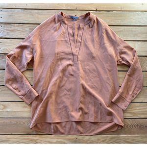 VINCE 100% Silk Long Sleeve V Neck Blouse M Peach